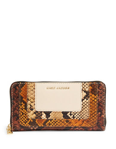 Marc Jacobs Leather Snake-Embossed Wallet-WHITE-One Size