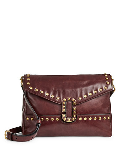 Marc Jacobs Studs Leather Crossbody Bag-RED-One Size