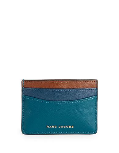 Marc Jacobs Saffiano Colourblock Card Case-BLUE-One Size