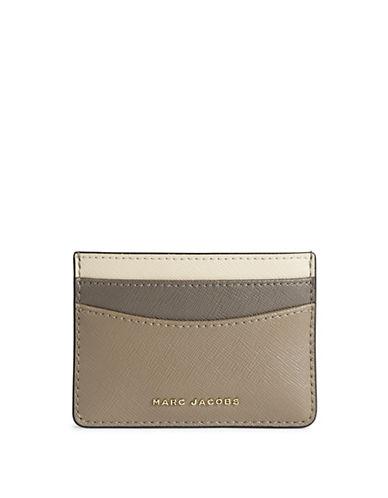 Marc Jacobs Saffiano Colourblock Card Case-GREY-One Size
