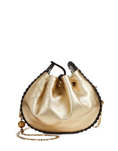 Marc Jacobs Drawstring Leather Bucket Bag-GOLD-One Size