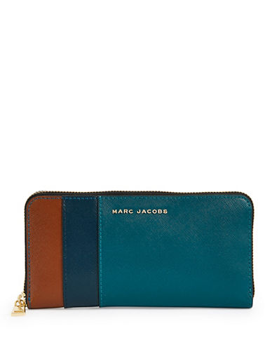Marc Jacobs Saffiano Colourblock Continental Wallet-BLUE-One Size