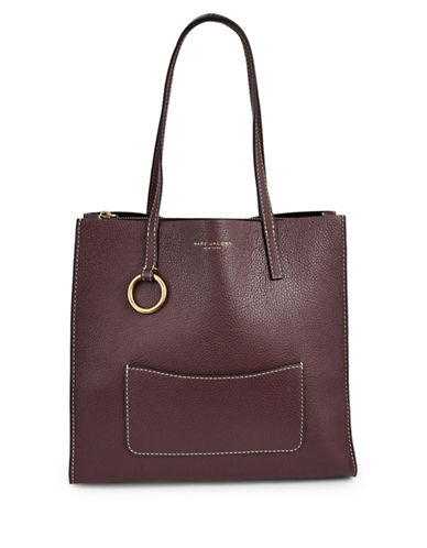 Marc Jacobs Pebbled Tote-BLACKBERRY-One Size