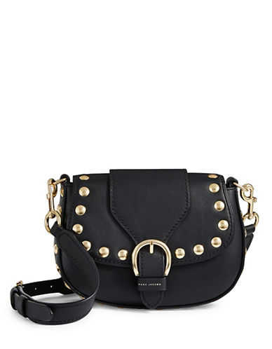 Marc Jacobs Small Studded Navigator Leather Crossbody-BLACK-One Size