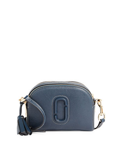 Marc Jacobs Leather Shutter Crossbody Bag-BLUE-One Size