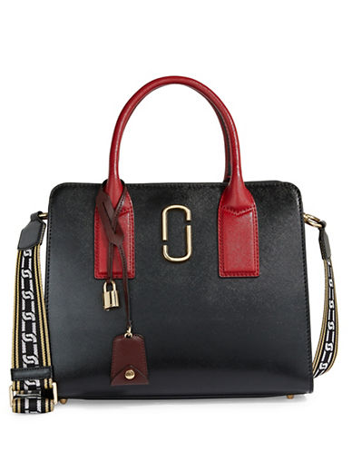 Marc Jacobs Big Shot Coated Leather Satchel-BLACK/CHESTNUT-One Size
