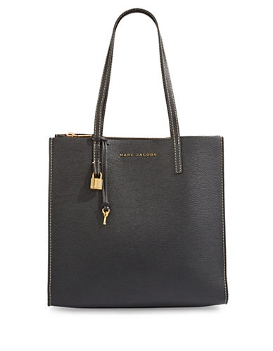 Marc Jacobs EW Leather Tote Bag-BLACK/GOLD-One Size