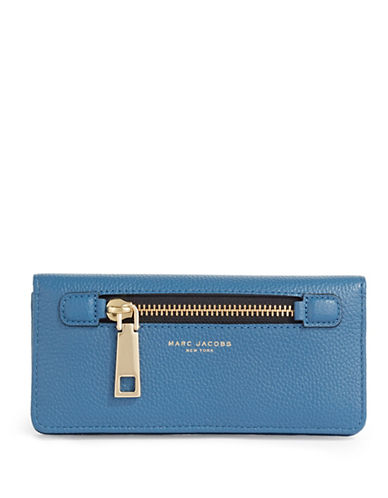 Marc Jacobs Gotham Open Face Leather Wallet-VINTAGE BLUE-One Size