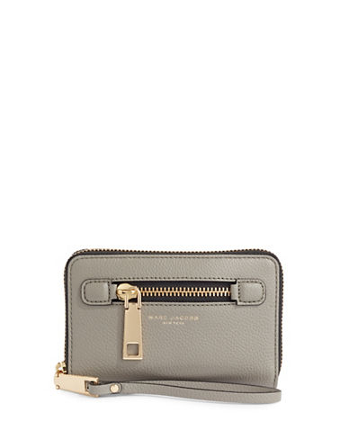 Marc Jacobs Gotham City Zip Phone Wristlet-GREY-One Size