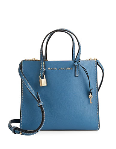 Marc Jacobs Mini Grind Leather Tote-VINTAGE BLUE-One Size