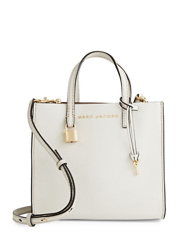 Marc Jacobs Mini Grind Leather Tote-WHITE GLOW-One Size