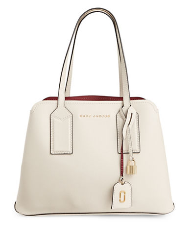 Marc Jacobs Editor Leather Tote-WHITE-One Size