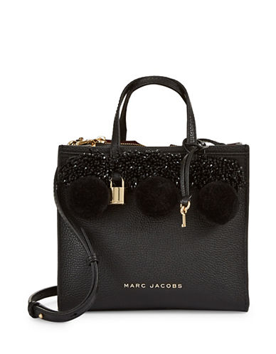Marc Jacobs Pom-Pom Leather Mini Top Handle Bag-BLACK-One Size
