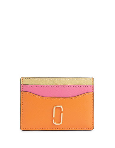 Marc Jacobs Tri-Tone Leather Card Case-ORANGE-One Size