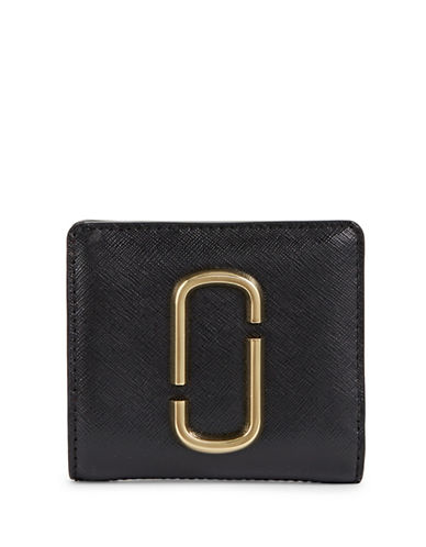 Marc Jacobs Leather Bi-Fold Wallets-BLACK-One Size