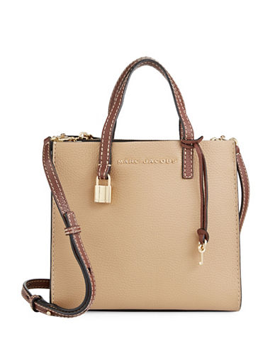 Marc Jacobs Mini Grind Leather Tote-NATURAL-One Size