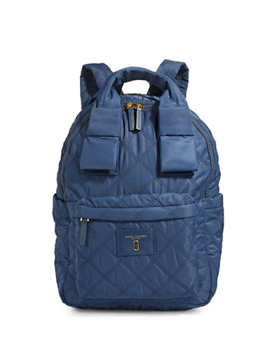 Marc Jacobs Quilted Logo Backpack-BLUE SEA-One Size
