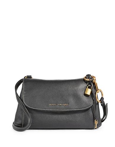 Marc Jacobs Boho Grid Leather Crossbody Bag-BLACK/GOLD-One Size