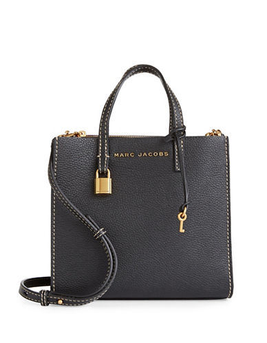 Marc Jacobs Mini Grind Leather Tote-BLACK/GOLD-One Size