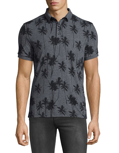 Superdry Palm Print Polo-GREY-Small
