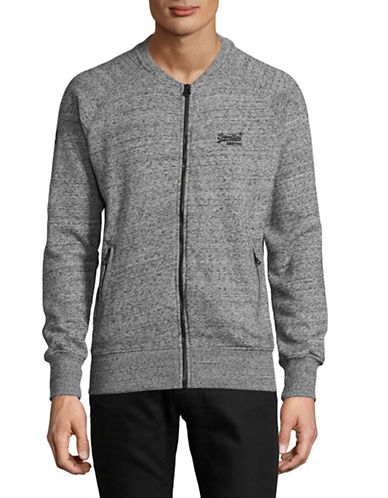 Superdry Fleece Bomber Sweater-GREY-Small