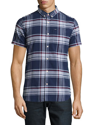 Superdry University Plaid Sport Shirt-BLUE-Large