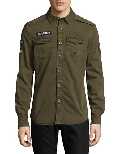 Superdry Army Corps Twill Shirt-GREEN-Large