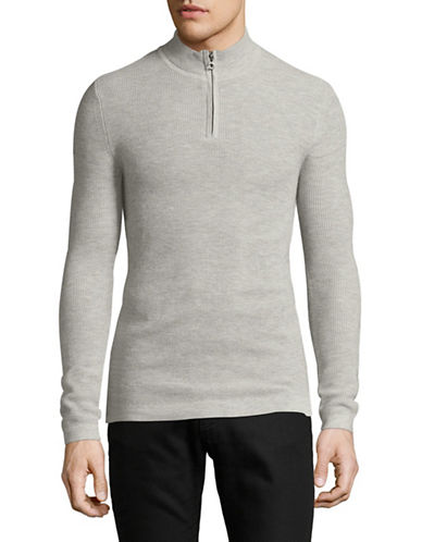 Superdry Premium City Wool-Blend Henley-SILVER-Medium