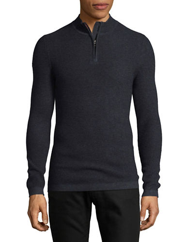 Superdry Premium City Wool-Blend Henley-BLUE-X-Large