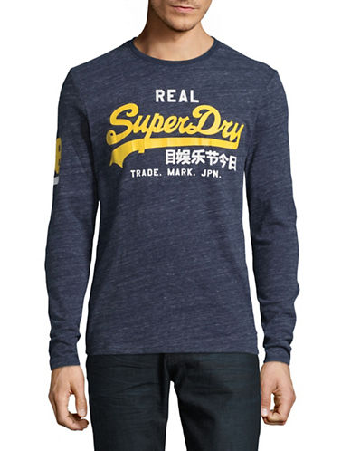 Superdry Long Sleeve Logo Print Grit T-Shirt-NAVY-Large