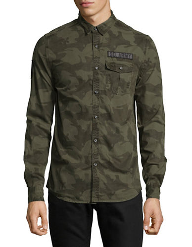 Superdry Camo-Print Cotton Sport Shirt-GREEN-XX-Large