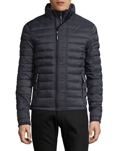Superdry Fuji Triple Zip Through Quilted Jacket-GREY-Medium