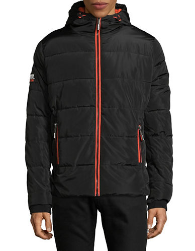 Superdry Hooded Puffer Jacket-BLACK/RED-Small