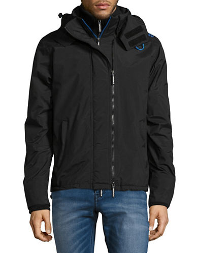 Superdry Pop Zip Hooded Arc Windcheater Jacket-BLACK-Medium