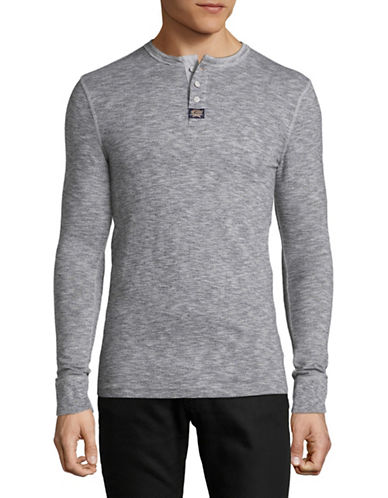 Superdry Long Sleeve Cotton Henley T-Shirt-GREY-Medium