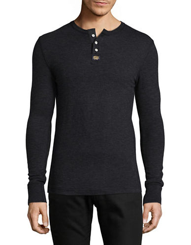 Superdry Long Sleeve Cotton Henley T-Shirt-CHARCOAL-X-Large