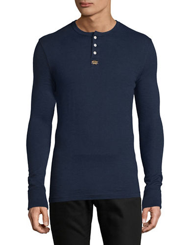 Superdry Long Sleeve Cotton Henley T-Shirt-INK-X-Large