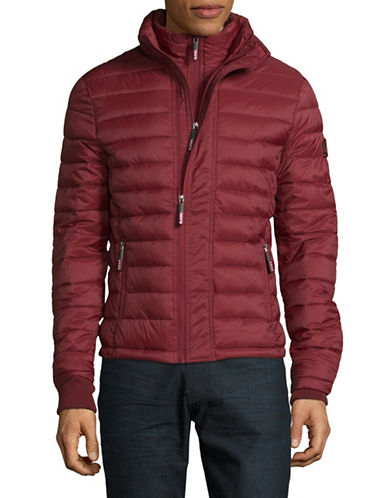 Superdry Fuji Triple Zip Through Quilted Jacket-RED-XX-Large