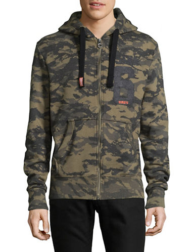 Superdry Osaka 6 Camo Print Zip Hoodie-GREEN-Small