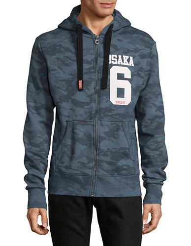 Superdry Osaka 6 Camo Print Zip Hoodie-BLUE-Medium