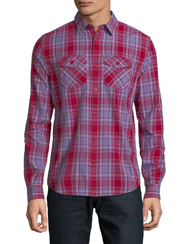 Superdry Wash Basket Long-Sleeve Cotton Sport Shirt-RED-Large