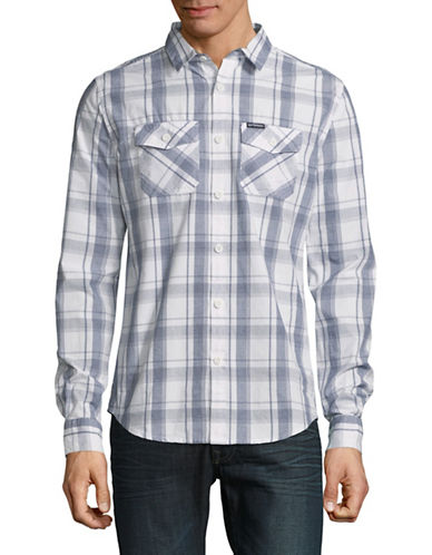 Superdry Wash Basket Long-Sleeve Cotton Sport Shirt-WHITE/GREY-Medium