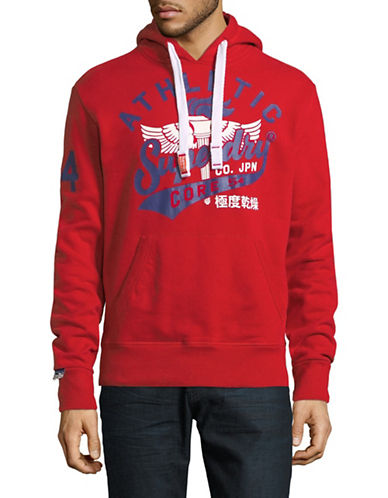 Superdry Athletic Core Hoodie-RED-X-Large
