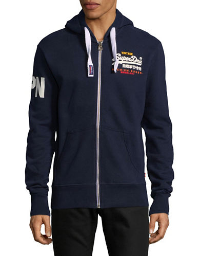 Superdry Premium Goods Zip Hoodie-BLUE-Medium