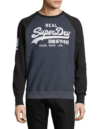 Superdry Vintage Logo Raglan-Sleeve Sweatshirt-BLUE-X-Large