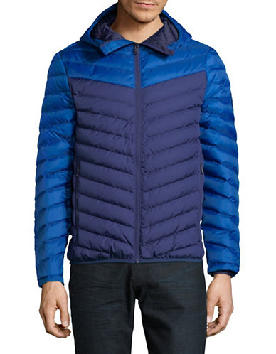 Superdry Chevron Colourblocked Down Jacket-BLUE-Large