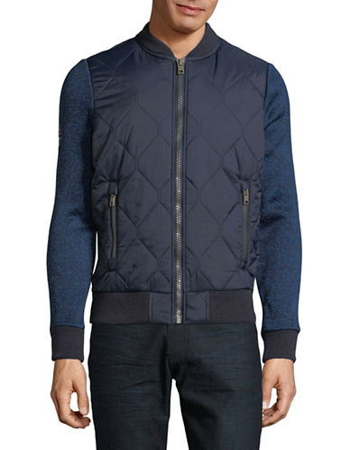 Superdry Storm Mountain Quilted Bomber Jacket-BLUE-Large