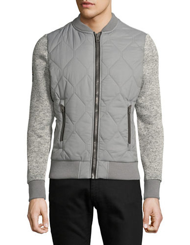 Superdry Storm Mountain Quilted Bomber Jacket-GREY-Medium