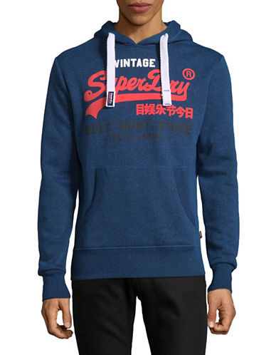 Superdry Vintage Heathered Hoodie-BLUE-Small
