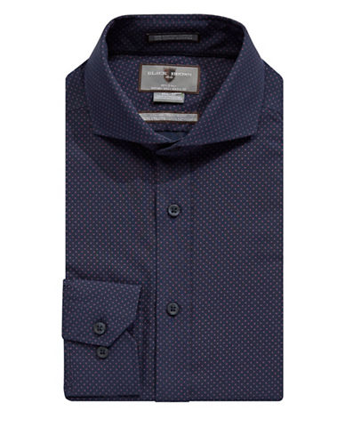 Black Brown 1826 Non-Iron Slim Fit Dotted Dress Shirt-NAVY-17.5-35